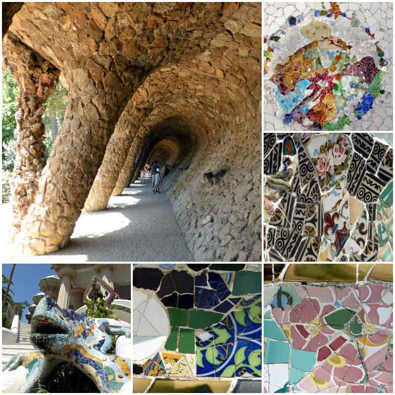 Park Güell - wandelgalerij en mozaïeken van Gaudi