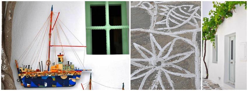 Kleurrijke bootjes en druivenrank tegen witte muur op Paros