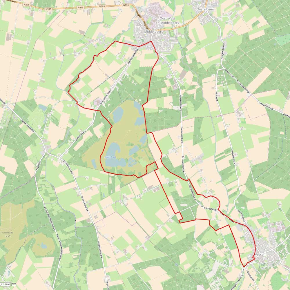 Routekaart wandeling Landschotse Heide en Kleine Beerze en Grote Beerze